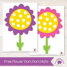 Free Flower pom pom mats for Spring!