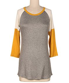 Another great find on #zulily! Heather Gray & Mustard Color Block Raglan Tee #zulilyfinds