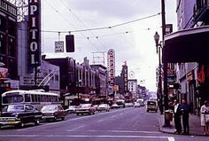 View of Granville Street, Theatre Row, City of Vancouver Archives. West Coast Canada, Vancouver Skyline, Places To Travel, Places To Visit, Granville Street, Urban Life, Old Pictures, Pacific Northwest, British Columbia