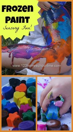 Frozen Paint - Sensory Fun! Shared at 123Homeschool4Me