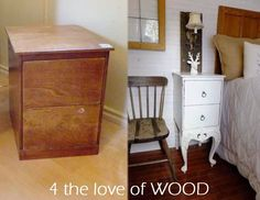 4 the love of wood: FRENCH NIGHTSTANDS MADE FROM PLYWOOD - inspiration The process to make plywood has been around for about 200 years. picture and you can clearly see the quarter inch plywood it was made with.
