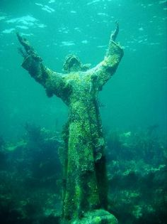 Christ of the abyss is located about 6 miles off shore from Key Largo, FL. Great snorkle/dive spot