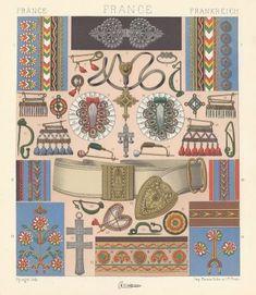 Broderies et objets de parure des paysans bretons selon Racinet dans Le Costume Historique, 1888