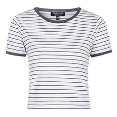 Topshop Stripe Crop Tee ($15) ❤ liked on Polyvore featuring tops, t-shirts, shirts, striped crop top, striped tee, striped shirt, pattern t shirt and crop top