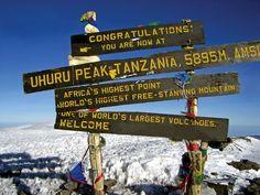 The old school Mt. Kilimanjaro summit sign.  Photo by Peter Zaharov