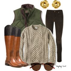 Oatmeal Sweater, Zara boots, and LL Bean vest