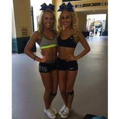 Image may contain: 2 people Cute Cheerleaders, Cheerleading Uniforms, Cheerleading Hair, Cheer Team Pictures, Cheer Pics, Cheer Practice Outfits, Cheer Outfits, Carly Manning, High School Cheer