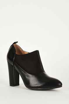 Black Faux Suede Leather Ankle Boot