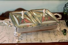 Double Loaf Pan Buffet Stand with Lids -  Ornate Feet - Lids with Artichoke Finials - Pair of Glass Loaf Pans