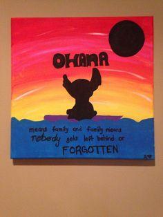 Lilo & Stitch stitch Silhouette Painting Ohana by handmadedoodads