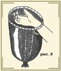 Кольцо сделано из металлической полоски, ею же окантовано и отверстие для руки. Но главная хитрость в маленьком колечке. Оно жестко соединено с большим и при сборе ягод свободно надевается на палец. Так легче управлять — и рукой, и мешком (рис.8)