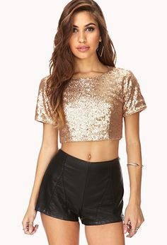 cdb8eb55d479f1 Crop top + gold + sequins   regal eagle.  22.80 - Fancy Sequined Crop Top