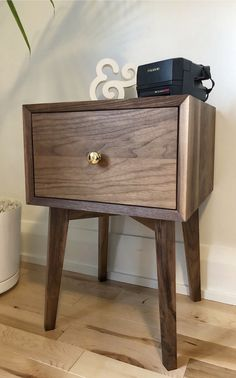 Custom made mid century modern walnut nightstand with a drawer