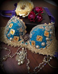 Tribal Fusion Bra in Teal Gold and Purple Embellished Bra with Vintage Flowers and Pearls Tribal Belly Dance Bra Tribal Fusion Costume Bra on Etsy, $311.07 AUD