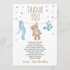 Baby Shower Thank You Card Teddy Bear blue Boy Baby Shower Themes, Baby Shower Fun, Baby Shower Decorations, Fun Baby, Shower Party, Baby Shower Thank You Cards, Custom Thank You Cards, Custom Cards, Baby Cards