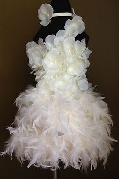 Birthday Surprise Couture Ivory Feather Skirt Flower Crochet Top Infant Toddler #gift #feather #white #flowergirl #pearl #flower #spring #summer  #price:$89.99