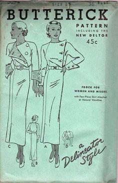 1930s Delineator dress pattern