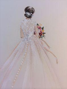 Very Beautiful Wedding Dress Illustration #Gown / Bellissima Illustrazione di Abito da Sposa #VestitoDaSposa