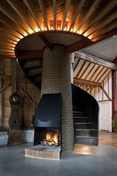 Ancient Party #Barn, Folkestone, 2014 - Liddicoat & Goldhill LLP #staircase #fireplace