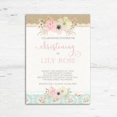Shabby Chic Christening Invitation Shabby by PrettyLittleInvite