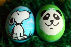 Easter eggs we painted. Snoopy is my favorite!