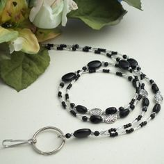 Black and Silver Beads and Crystals Beaded ID Badge Lanyard – Plum Beadacious $27.00
