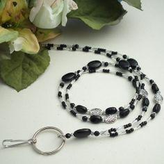 Black and Silver Beads and Crystals Beaded ID Badge Lanyard – Plum Beadacious $27.00