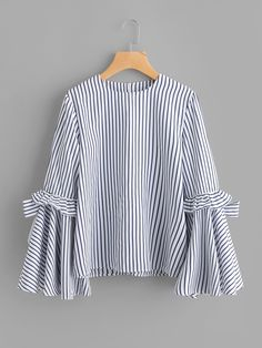 Shop for Bow Tie Frilled Exaggerate Sleeve Pinstripe Top by Shein at ShopStyle. Cute Comfy Outfits, Casual Outfits, Batik Fashion, Fancy Tops, Girl Outfits, Fashion Outfits, Muslim Fashion, Corsage, Blouse Designs