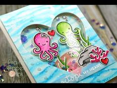 Lawn Fawn Octopi My Heart | Clean Color Real Brush Markers | AmyR 2017 Valentine Card Series #3 - YouTube