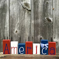 ~ America Wood Blocks ~ This block set is a great addition to your of July or Americana decorations. It is the perfect centerpiece for - Crafting For The Holiday Fourth Of July Decor, 4th Of July Fireworks, 4th Of July Decorations, 4th Of July Party, Americana Decorations, July 4th, Wood Decorations, Birthday Decorations, Americana Crafts
