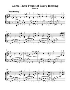 Free Piano Arrangement Come Thou Fount Of Every Blessing Level 4
