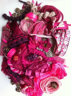 Pink Trimmings Velvet Ribbon, Arts And Crafts Projects, Crochet Motif, 4th Of July Wreath, Embellishments, Tassels, Pink, Vintage, Beautiful
