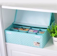 QUBABOBO 16 Grid  Folding Case Storage Box For Bra  Necktie Socks Bag Underwear Clothing Organizer With Cover 32*32*12cm