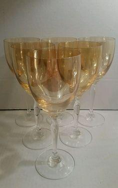 Set of (6) Long Stem Smokey Topaz Fine Crystal Wine Goblets/Glasses in Pottery & Glass, Glass, Glassware | eBay