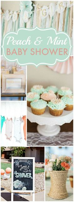 Love this pretty baby shower in mint, peach and gold! See more party ideas at http://CatchMyParty.com!