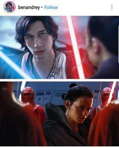 Fan art: Lightside Ben Solo and Darkside Rey with light sabers