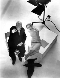 "Alfred Hitchcock and Tippi Hedrin for ""The Birds"" (1963)"