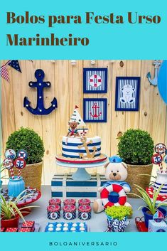ideas for baby shower boy nautical fun Boy Birthday Parties, Baby Shower Parties, Baby Shower Themes, Baby Boy Shower, Sailor Birthday, Sailor Party, Nautical Birthday Cakes, Nautical Party, Party Decoration