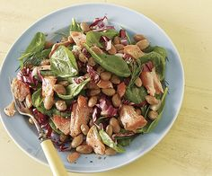 Cranberry Bean and Salmon Salad with Spinach and Radicchio by Fine Cooking