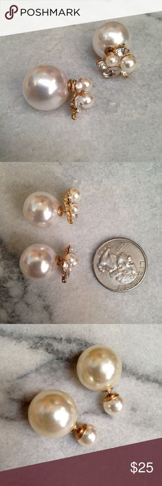 Faux pearl crystal double sided earrings bundle w e l c o m e  t o  m y  c l o s e t    Bundle of double sided earrings. (1) Double sided earrings with faux pearl and crystal embellishments. (2) faux pearl double sided earrings. Each are in EUC - worn once, no scratches or rusting.  question/unsure? let's talk.                    Thanks for looking👀, liking👍, and sharing💕 Jewelry Earrings