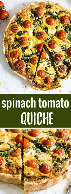 This delicious Spinach Tomato Quiche is perfect for breakfast or brunch! Super easy to make and loaded with flavor. Tastes great hot and cold!