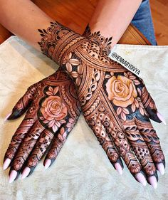 Mehndi is used for decorating hands of women during their marriage, Teej, Karva Chauth. Here are latest mehndi designs that are trending in the world. Henna Hand Designs, Mehndi Designs Finger, Rose Mehndi Designs, Indian Henna Designs, Mehndi Designs For Girls, Modern Mehndi Designs, Mehndi Designs For Fingers, Wedding Mehndi Designs, Mehndi Design Pictures