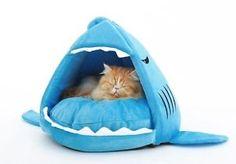 Nueva-Moda-acogedor-cachorro-de-Perro-Gato-Azul-Shark-Casa-para-pequenas-y-medianas-Mascotas-Cama