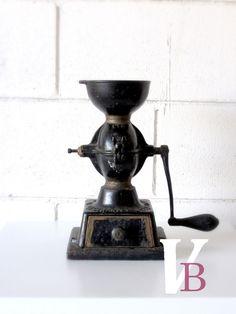 Antique Cast Iron Coffee Grinder - Vintage - Coffee Mill - Black. $250.00, via Etsy.
