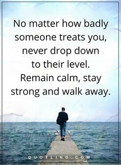 life lessons No matter how badly someone treats you, never drop down to their level. Remain calm, stay strong and walk away.