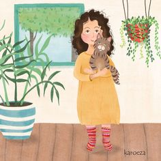 karoeza loves: Illustration   a cat lady [tekening van een kat vrouwtje]