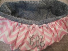 Pink Chevron 3 Initial Monogram Shopping Cart by TWINSANDQUINN, $55.00