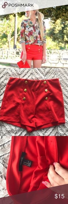 Red Sailor Shorts Red sailor shorts with gold anchor buttons Forever 21 Shorts