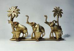 Elephant & Incense Antique Brass Candle Stand Vintage Burner Holder Wall Decor
