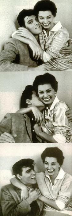 Elvis Presley and Sophia Loren cuttin' up in the photo booth